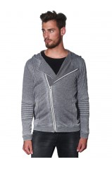 Sweat zippé Japan Rags Harlo Grey Melange