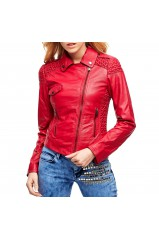 Veste en Cuir Guess Sophia Leathet Jacket Rouge
