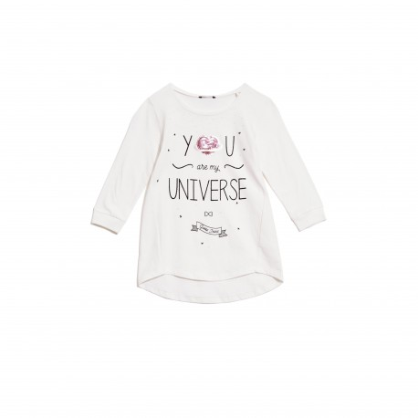 Guess T-Shirt Fille Manches 3/4 Blanc