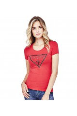 Guess T-Shirt Femme Triangle Rouge
