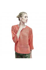 Guess Pull Femme à Manches 3/4 Ines Corail