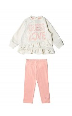 Guess Ensemble  T-SHIRT+LEGGINGS Bébé Fille A84G02 Rose et Beige