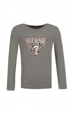 Guess T-shirt Manches Longues Fille Logo triangle Rose k84i02 Kaki