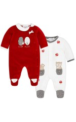 Mayoral lot de 2 pyjamas velours pour fille Rouge