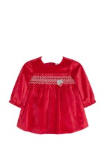 Mayoral Robe velours rouge bébé fille