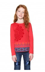 Desigual Top t-Shirt Manches longue Fille Oklahoma Rouge  18WGTK37