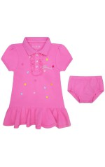 Guess Robe fille coeurs brodés rose A91K13