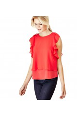 Guess Top WITH FLOUNCES AT THE SIDE Rouge
