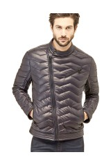 Guess Doudoune Homme Eco Leather Biker Gris