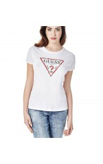 Guess T-Shirt Eyelets  Logo Triangle à Clous Blanc