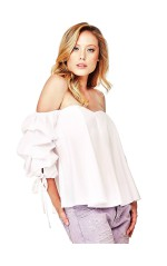 Guess Top femme Manches Bouffantes Candice Blanc
