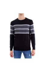 Guess Pull Homme M83R38 Noir Logo Bande Central