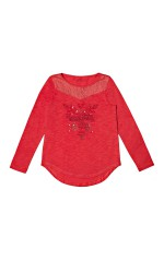 Guess T-shirt Manches longues Fille Rouge