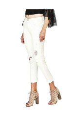 Guess Jeans Femme Confort Broderies Blanc