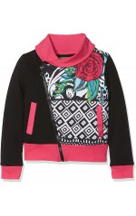 Desigual Sweat zippé fille Andersen noir/rose 17WGSK03