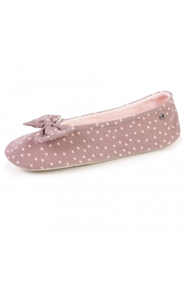 Isotoner chaussons ballerines à pois taupe 97284