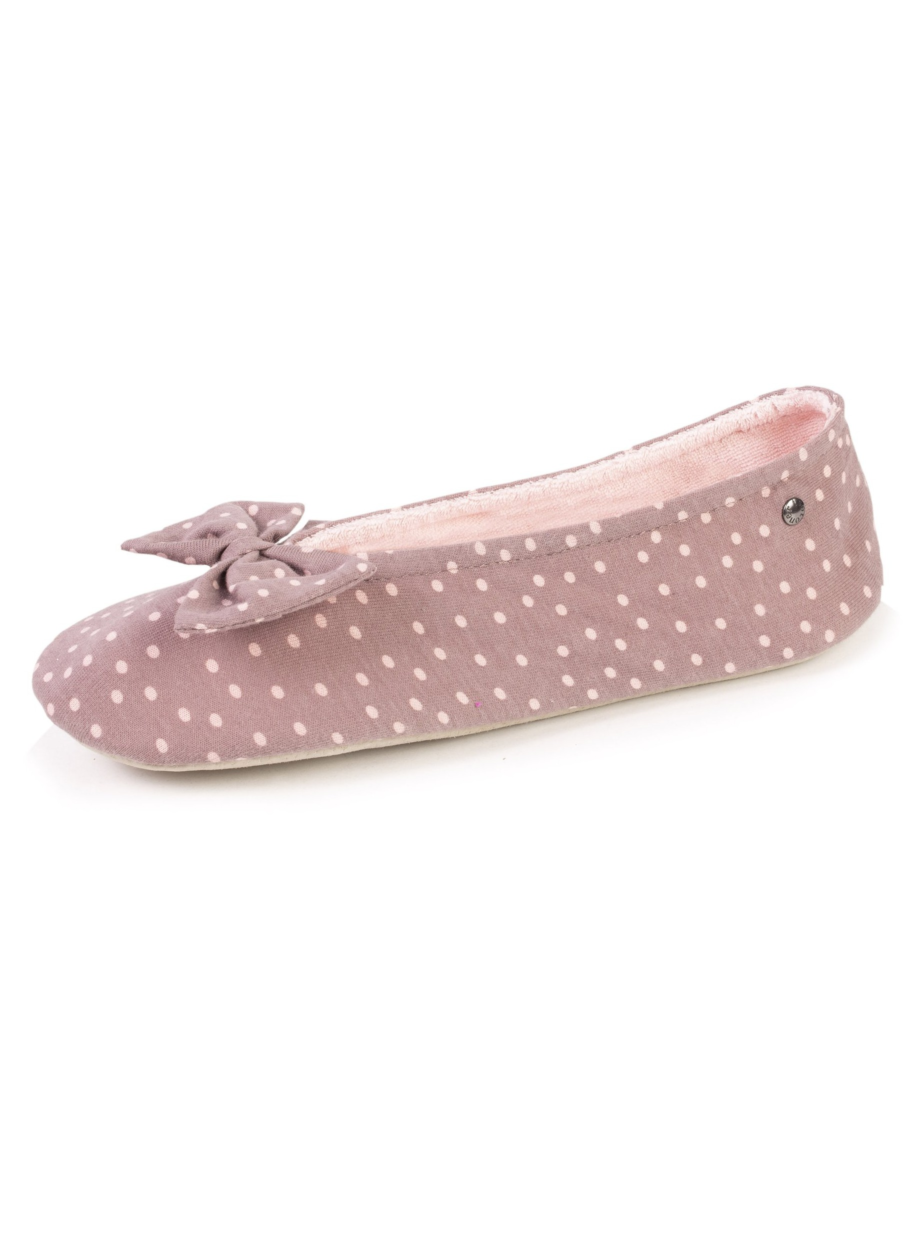 Isotoner chaussons ballerines à pois taupe
