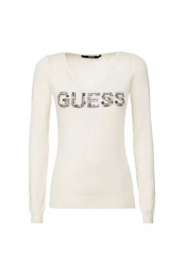 Guess Pull Femme Ines Sweater W74R80 Logo Blanc SDS