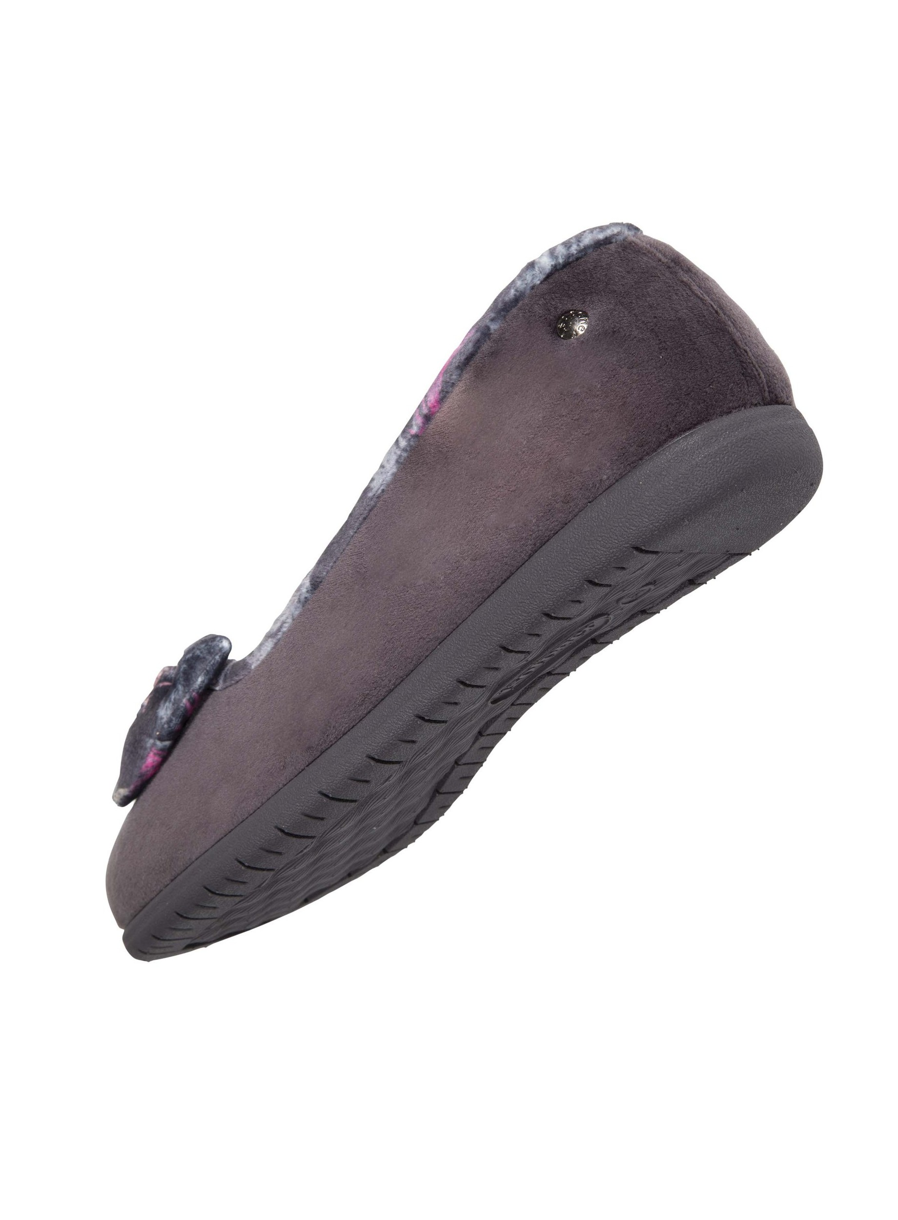 Isotoner chaussons femme noeud 97309 gris
