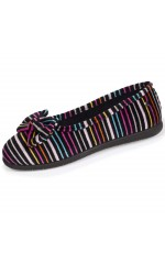 Isotoner femme chaussons noeud 97308 rayures