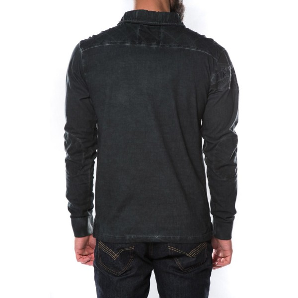 polo homme manches longues deeluxe waspart charcoal gris