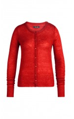 King Louie Cardigan Femme Col Rond Fluffy Grenadine Red