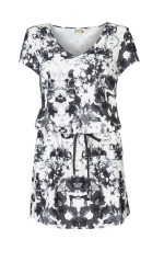 Only robe wendy tunique ebony gris/blanc